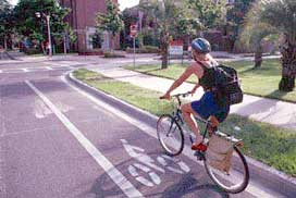 Bicyclists on road path
